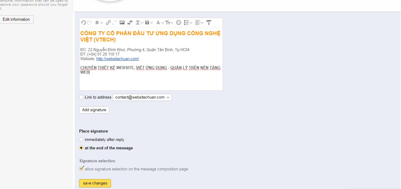 tạo chữ ký trong yandex mail