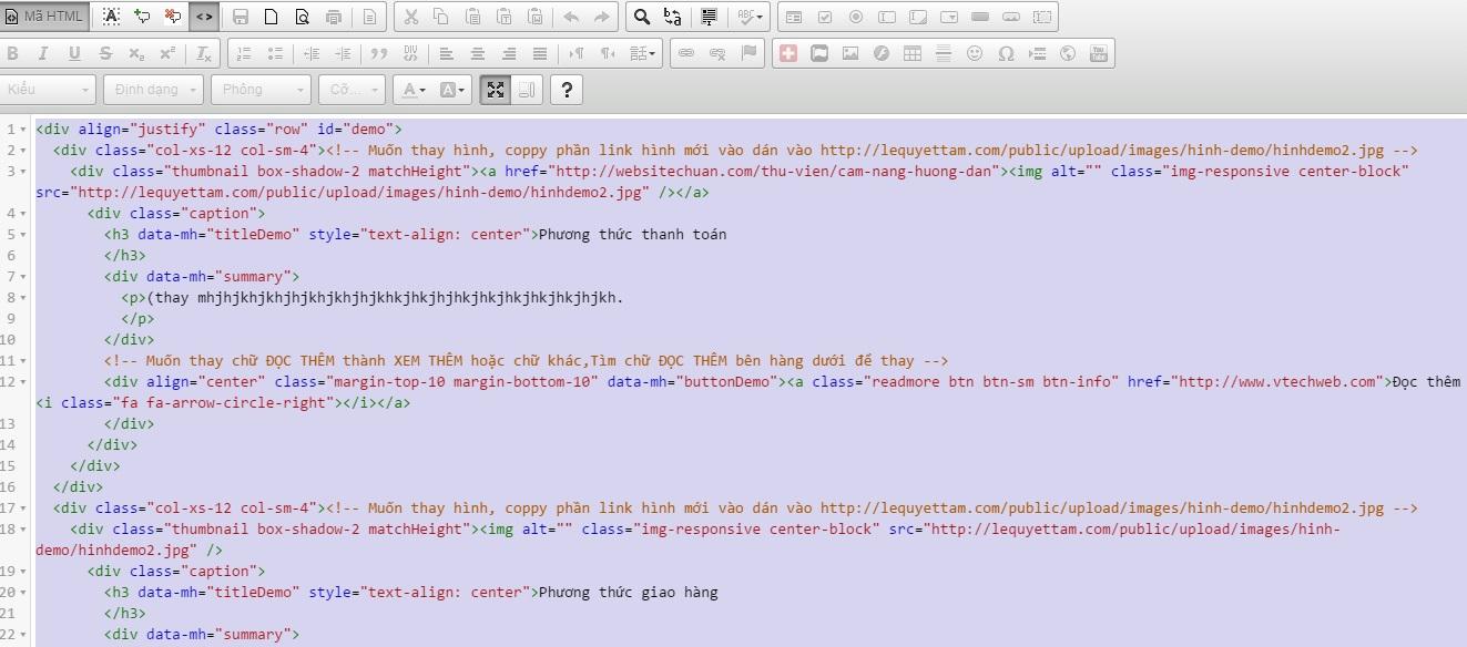 copy mã html trong hệ thống vtech cms