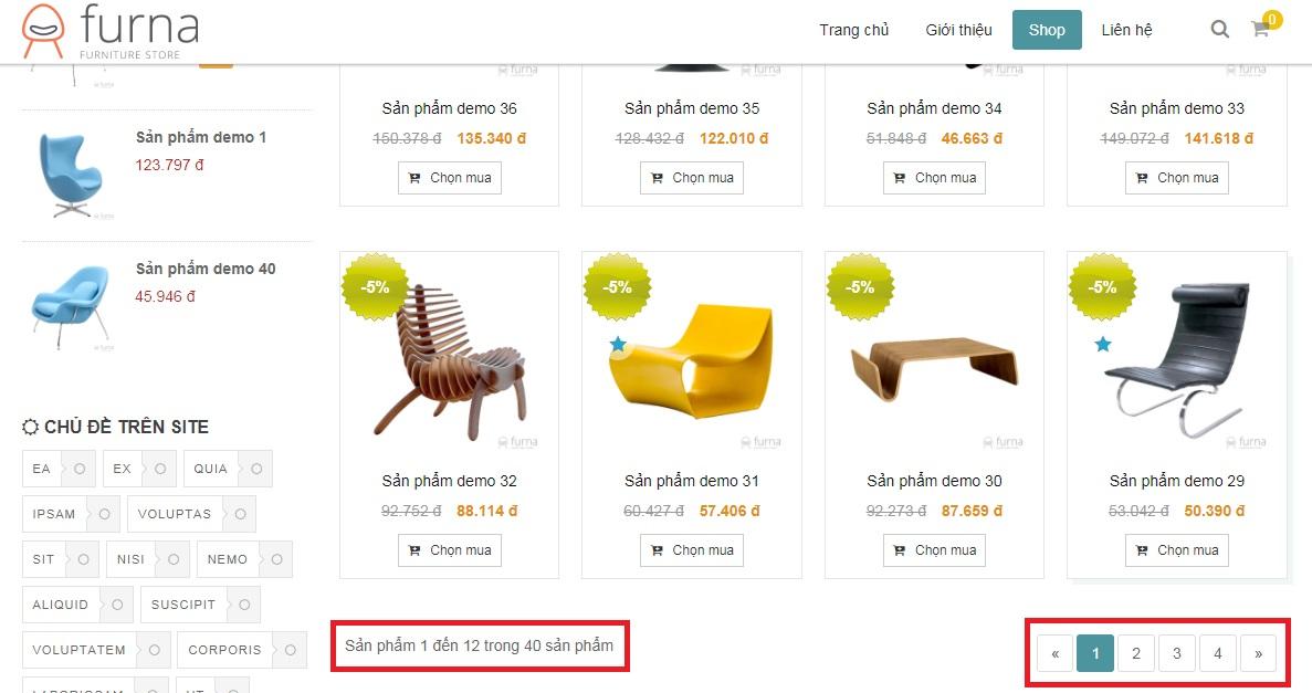 Hiển thị phân trang trên website khi thay đổi dữ liệu riêng cho danh mục sản phẩm